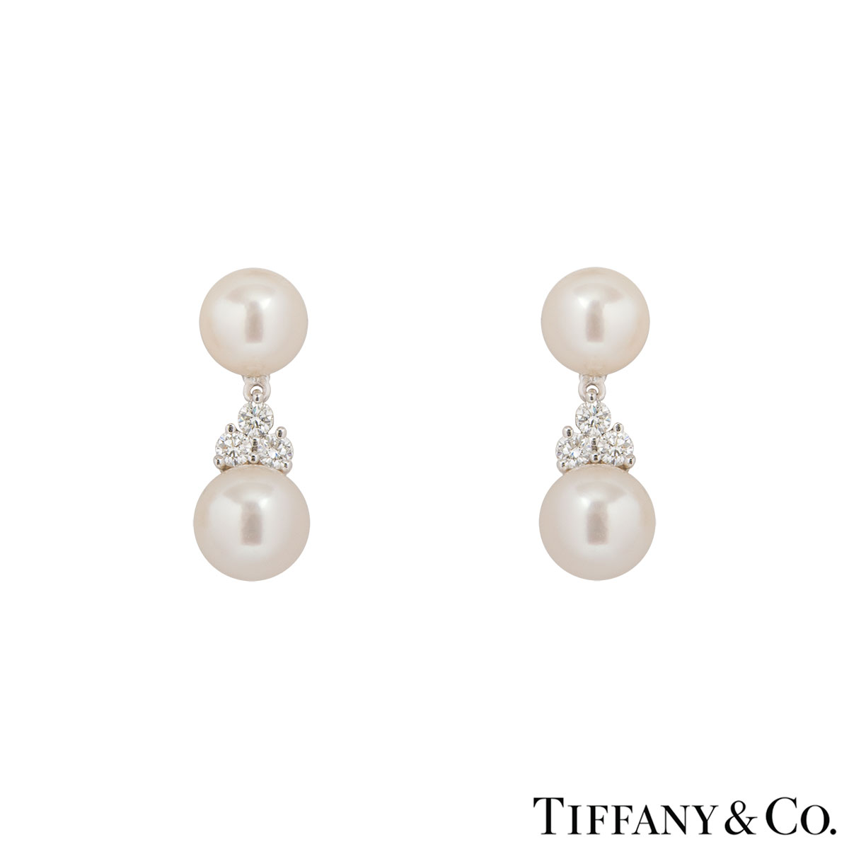 Tiffany & Co. Platinum Pearl & Diamond Drop Aria Earrings